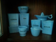 would love to start collecting & mix in with my jadeite collection! Vintage Canister Sets, Kitchen Canister Sets, Vintage Kitchenware, Vintage Dishes, Vintage Glassware, Shabby, Pyrex Bowls, Glass Kitchen, Glass Ceramic
