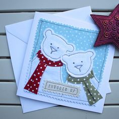 Couples Christmas Card Handmade Machine Embroidered