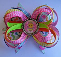 EASTER EGG CHICK SPRING CHEVRON TWISTED BOUTIQUE HAIR BOW CLIP RIBBON HANDMADE #Handmade