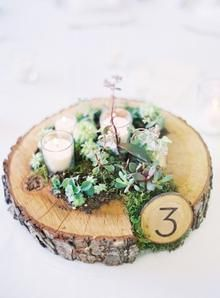 Country wedding table centerpiece with candles