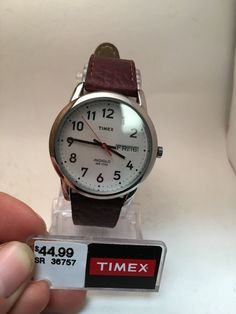 timex men s easy reader brown leather band date indiglo timex easy reader t20041 wrist watch for men