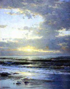 Lever de soleil sur la plage, huile sur toile de William Trost Richards (1833-1905, United States)