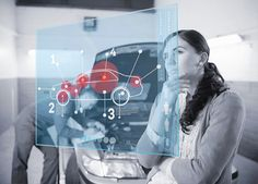 Doubtful customer looking at futuristic interface next to a mechanic - Wavebreak Media Innovation Strategy, Video Footage, Looking For Women, Futuristic, Stock Photos, Photo And Video, Image, Cars, Woman