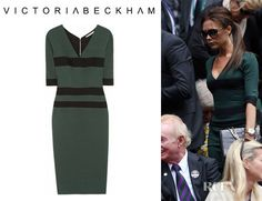 Clean lines and rich colors. Can't beat Victoria Beckham's Victoria Beckham Striped Silk Blend Stretch Crepe Dress