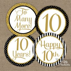 10th Anniversary Cupcake Toppers - Black Gold