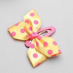 baby hair clips - butterfly snap -  polkadot clip, girls hair clips, toddler, yellow, lemon, pink. $4.00, via Etsy.