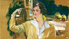 """ÚLTIMOS AÑOS (1911-1920). """"RETRATO DE LA SEÑORA DE PÉREZ DE AYALA"""", 1920. Pintando este retrato en el jardín de su casa, Sorolla sufre un ataque de hemiplejía que le deja invalidado para los pinceles. Ocurrió un 17 de junio de 1920. Por ello la obra está sin concluir, ya que el artista no puede volver a pintar. El marido de esta señora, Ramón Pérez de Ayala, nos ha dejado testimonio escrito de este hecho."""