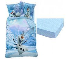Disney Frozen Dekbedovertrek + Hoeslaken Olaf de sneeuwman 60% katoen 40% polyester 90x200cm
