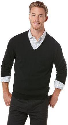 Solid V-Neck Sweater