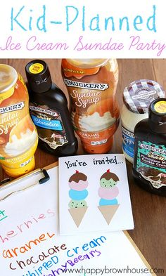 Let the kids choose the toppings and help plan their perfect party with this Kid-Planned Ice Cream Sundae Party