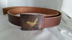 Copper and Brass Man's Belt Buckle  with Hand Sawn Bird and Brown Bridle Leather Belt by DKHandcraftedJewelry on Etsy