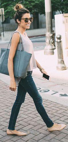 Blush And Denim Outfit Idea #Fashionistas http://fancytemplestore.com