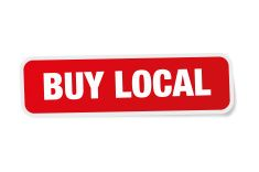 Buy Local Red Sticker Isolated on White stock photo