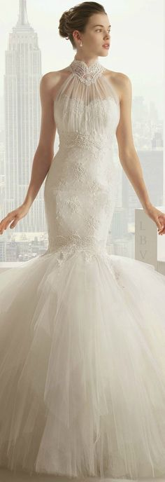 Rosa Clara 2015 Bridal- lace mermaid wedding dresses with tulle skirt. I love the turtleneck on this dress!