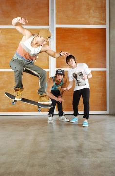 I like any guy that can skate and look that good at doing it! :D
