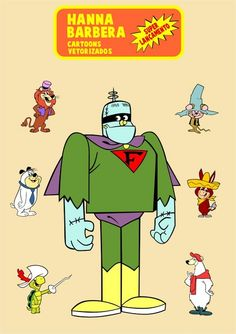 Hanna Barbera characters. In the center is Frankenstein Jr. To the left are Lippy the Lion, Chopper (from Yakky Doodle cartoons), and Touche Turtle. To the right are the hillbilly mouse named Mushmouse, Baba Looey (Quick Draw McGraw's sidekick), and Breezly Bruin.
