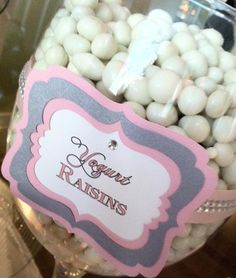 Hostess with the Mostess® - Tiffany PINK Candy & Dessert Table - labels for candies Baby Shower Tags, Baby Shower Gifts, Bridal Shower, Girl Shower, Baby Showers, Baby Gifts, Pink Candy Table, Chocolate Covered Raisins, Barbie Birthday Party