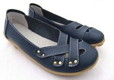 MAXINE LEATHER COMFORT FLAT - Blue
