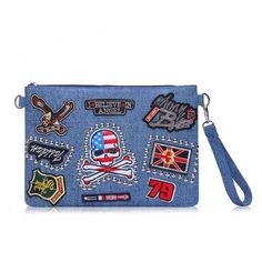 Patched Clutch Bag in Denim - US$17.95 -YOINS