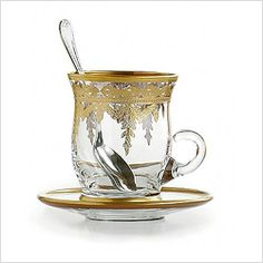 Arte Italica Vetro Gold Cup & Saucer Set with Spoon