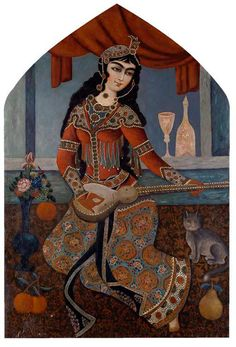 A QAJAR BEAUTY PLAYING A LUTE, IRAN, 19TH CENTURY Oil on canvas, seated on a carpet with a cat sat beside her