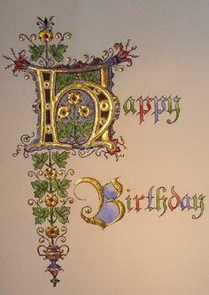 Happy birthday calligraphy – Art and Literature Illuminated Letters, Illuminated Manuscript, Letters Ideas, Happy Birthday Calligraphy, Illumination Art, Fancy Letters, Creative Lettering, Calligraphy Letters, Islamic Calligraphy