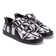 Moschino Black and White Branded Velcro Trainers