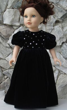 Midnight blue velvet full length gown for an 18 by TinaDollDesigns, $30.00