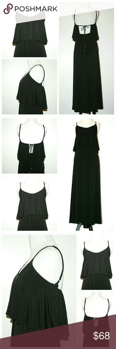 V e r o n i c a M . D r e s s . sz XS Fantastic condition! Veronica M Dress. Sz XS.  Black.  Sexy back with tie finished with brass tone beads.  Ruffle bodice.  Adjustable spaghetti straps.  Maxi length.  Shapely. Flattering. Stylish.  This dress moves b e a u t i f u l l y.  Easy care silky polyester.   Evening. Wedding party. Special occasion. Dinner. Festival wear. Date night.  A0500 Veronica M Dresses Maxi