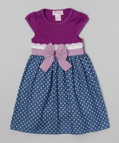 Purple & Blue Star Chambray Bow Dress - Toddler & Girls | Daily deals for moms, babies and kids