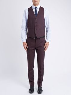 Ben Sherman Tailoring Plain Flannel Waistcoat, Vintage Claret
