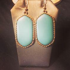 Cindy Earrings - Vermeil earrings available in aqua, black or pink - $18.00