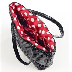 Studio C Laptop Tote  NWOT Gorgeous black vinyl outside, red and white polkadots inside!! So flirty and fun!! Measurements: 12 inches across bottom, 12 inches deep, 16 inches across top, 4.5 inches deep inside bottom of bag. Studio C Bags Totes