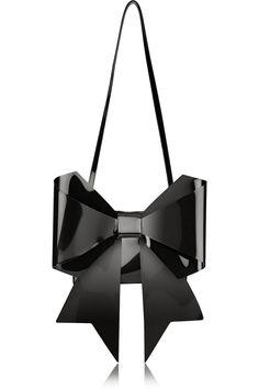 MM6 Maison Martin Margiela|Bow-embellished PU shoulder bag|NET-A-PORTER.COM