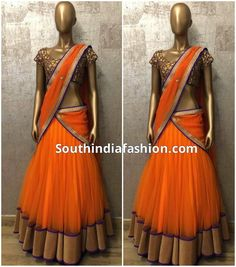 Simple and stylish designer half saree by Shilpa Reddy featuring bright orange lehenga with gold border and matching dupatta with embellished gold border teamed with purple full work blouse. Shilpa Reddy Outfits are available at : Flagship Store, N-Asian, Road no. 36, Jubilee Hills, Hyderabad Email:info@shilpareddystudio.com AMARA, 3-3-5 Kemps Boulevard, Kwality House, Kemps Corner, Near
