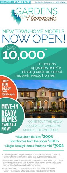 New townhomes now available at Gardens at the Hammocks in Kendall. Get up to $10k incentives!