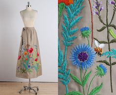 Wearable Garden . vintage 1970s skirt . vintage maxi skirt .