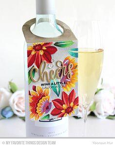 card tag wine bottle MFT wine bottle tag Die-namics MFT Cheers Die-namics scripty words and letters floral background stamp  #mftstamps