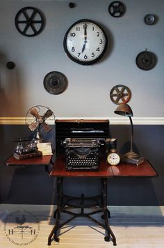 Antique farmhouse decor for the well-collected home — Secure Fold Out Desk, Underwood Typewriter, Desk Fan, Brass Lamp, Antique Farmhouse, Metal Furniture, Furniture Companies, Fun Projects, How To Introduce Yourself