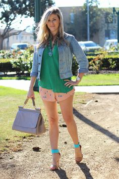 Birdy Lounge Shorts, @Grayson Stebbins Shop, #orange, #green, #spring, #shorts, #denim, #truereligionbrandjeans, #boho, #necklace, #sandal, @FOREVER.com 21, #tote, @ShoeDazzle, #OOTD, #style