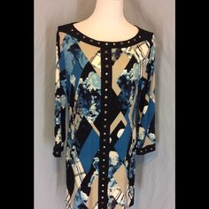 NWOT Style&Co. Stud Accent Tunic/Dress New without tags, no defects. Polyester/Spandex blend. Teal, blue, black and white color Sr. Stud accents on front neckline and down the Front. 3/4 sleeves. Bust 22 inches flat. Length 32 inches. Style & Co Tops Tunics