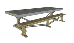 4' x 10' zinc and wood top table with matching bench