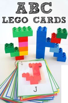 Alphabet Lego Cards: Uppercase {free printable - Activities for preschoolers and older - Lego Letters, Preschool Letters, Learning Letters, Kindergarten Literacy, Preschool Learning, Early Learning, Fun Learning, Letter Recognition Kindergarten, Science Center Preschool