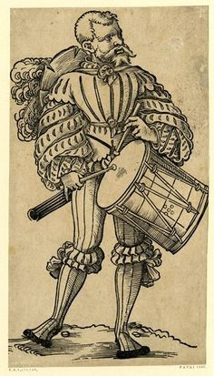 A drummer; FL figure, his hat slung around his neck, beating his drum
