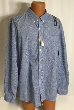 New Gap Button Down XXL Mens Shirt Blue Check Vintage Wash Slim NWT Gingham #GAP #ButtonFront