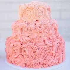 Ombre Swirls  This vanilla confetti cake is covered with lemon buttercream piped in a pink ombre swirl pattern.