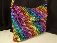 Rainbow Pride Chainmail Purse Handbag Clutch by CnTStretchys, $300.00