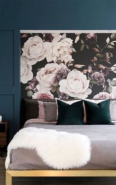 Create a beautiful, elegant space with the Chloe dark floral wallpaper design. A luxurious twist on a typical floral wallpaper. This design creates a Rose Illustration, Floral Bedroom, Bedroom Decor, Black Floral Wallpaper, Purple Wallpaper, Grey And Gold Bedroom, Design Studio, Design Design, Floral Design