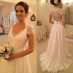 long chiffon wedding dress with lace ,cap sleeves wedding dress ,A-line wedding…