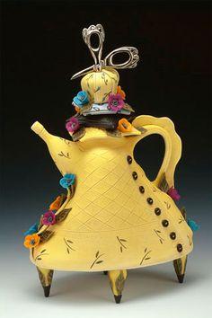 Laura Peery Seamstress Teapot Porcelain Polymer Clay 15 x 9 x 5